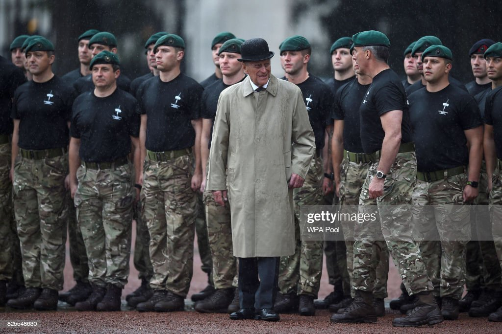 Prince Philip, Duke of Edinburgh (C) in his role as Captain General, Royal Marines, makes his final individual public engagement as he attends a parade to mark the finale of the 1664 Global Challenge, on the Buckingham Palace Forecourt on August 2, 2017 in London, England.