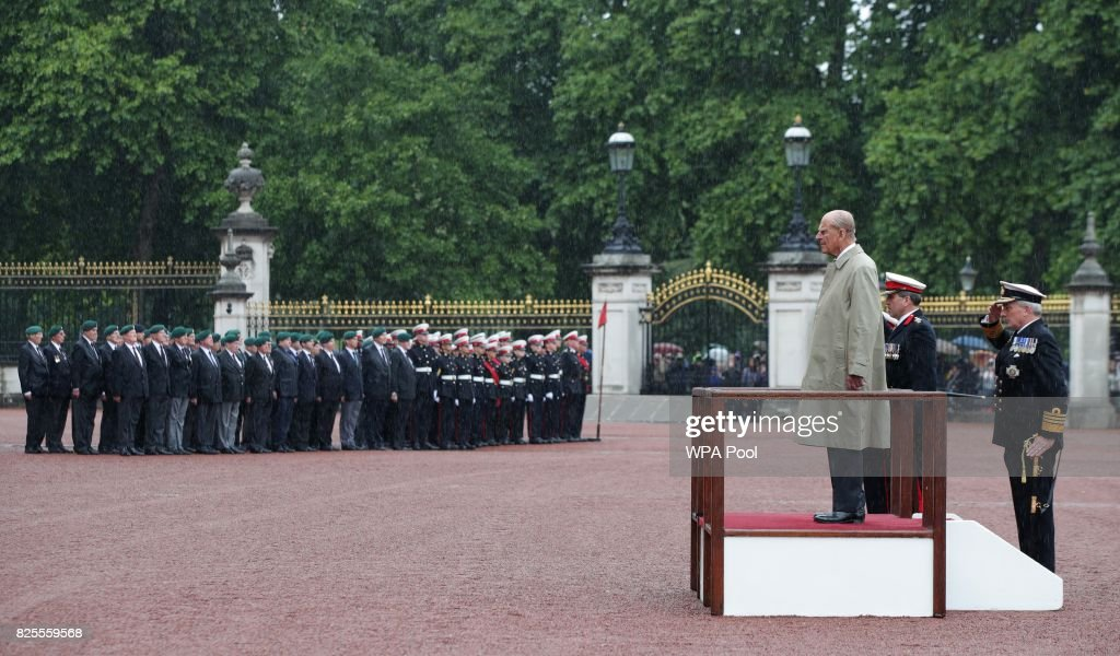Prince Philip, Duke of Edinburgh in his role as Captain General, Royal Marines, makes his final individual public engagement as he attends a parade to mark the finale of the 1664 Global Challenge, on the Buckingham Palace Forecourt on August 2, 2017 in London, England.