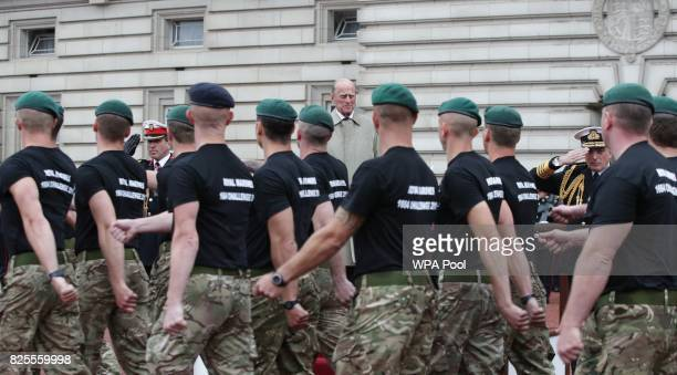 Prince Philip Duke of Edinburgh in his role as Captain General Royal Marines makes his final individual public engagement as he attends a parade to...