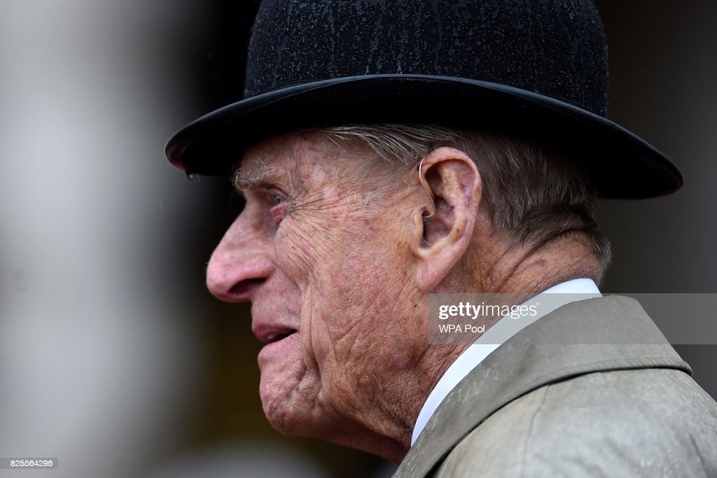 Prince Philip, Duke of Edinburgh, (C) in his role as Captain General, Royal Marines, makes his final individual public engagement as he attends a parade to mark the finale of the 1664 Global Challenge, on the Buckingham Palace Forecourt on August 2, 2017 in London, England.