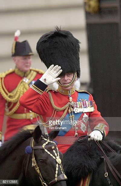 Prince Philip [ Duke Of Edinburgh ] In His Uniform As Colonel Of The Grenadier Guards Saluting In The Rain At Trooping The Colour The Queen's...