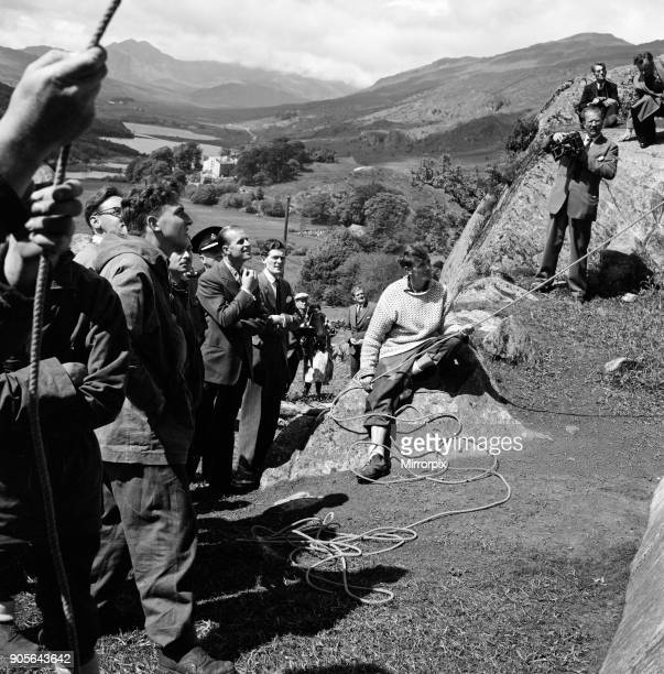 Prince Philip Duke of Edinburgh in North Wales The Duke watches with interest the efforts of members of the Snowdonia National Recreation centre at...