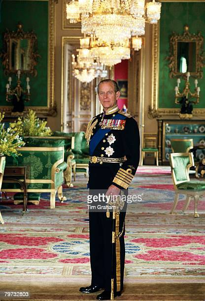Prince Philip Duke of Edinburgh in the Green Room at home in Windsor Castle