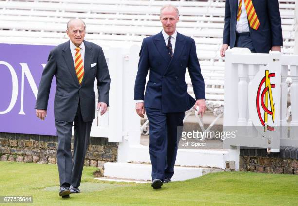 Prince Philip Duke of Edinburgh is escorted by Matthew Fleming President of Marylebone Cricket Club The Duke of Edinburgh opens the new Warner Stand...
