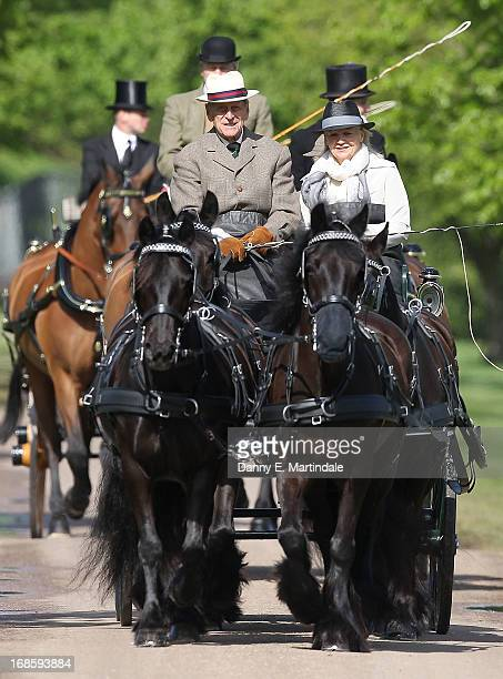 Prince Philip Duke of Edinburgh is seen driving his carriage on day 5 of the Royal Windsor Horse Show on May 12 2013 in Windsor England