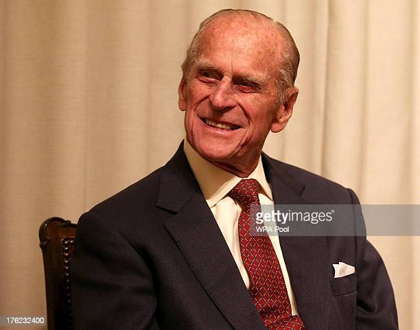 Prince Philip, Duke of Edinburgh is seen during a medal presentation event at the Royal Society of Edinburgh on August 12, 2013 in Edinburgh,...