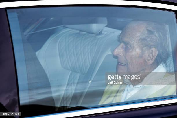 Prince Philip, Duke of Edinburgh is seen leaving King Edward VII Hospital on March 16, 2021 in London, England. The Duke of Edinburgh has today been...