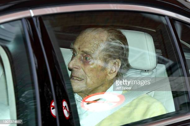 Prince Philip, Duke of Edinburgh is seen leaving King Edward VII Hospital on March 16, 2021 in London, England. The Duke of Edinburgh has today been...