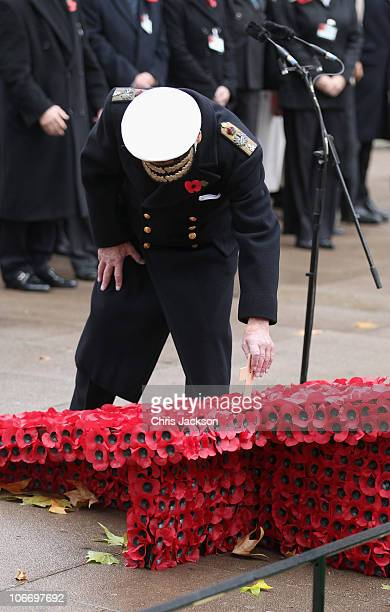 Prince Philip Duke of Edinburgh lays a poppy in front of Westminster Abbey in the Field of Remembrance on Armistice Day on November 11 2010 in London...