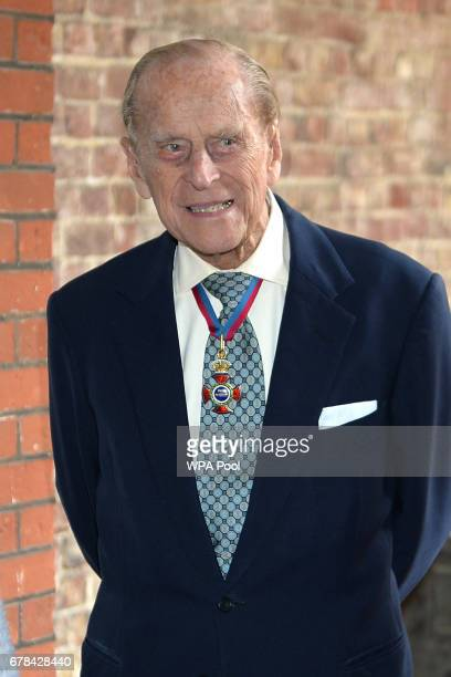 Prince Philip Duke of Edinburgh leaves at St James's Palace after a service for members of The Order of The Merit at St James's Palace on May 4 2017...