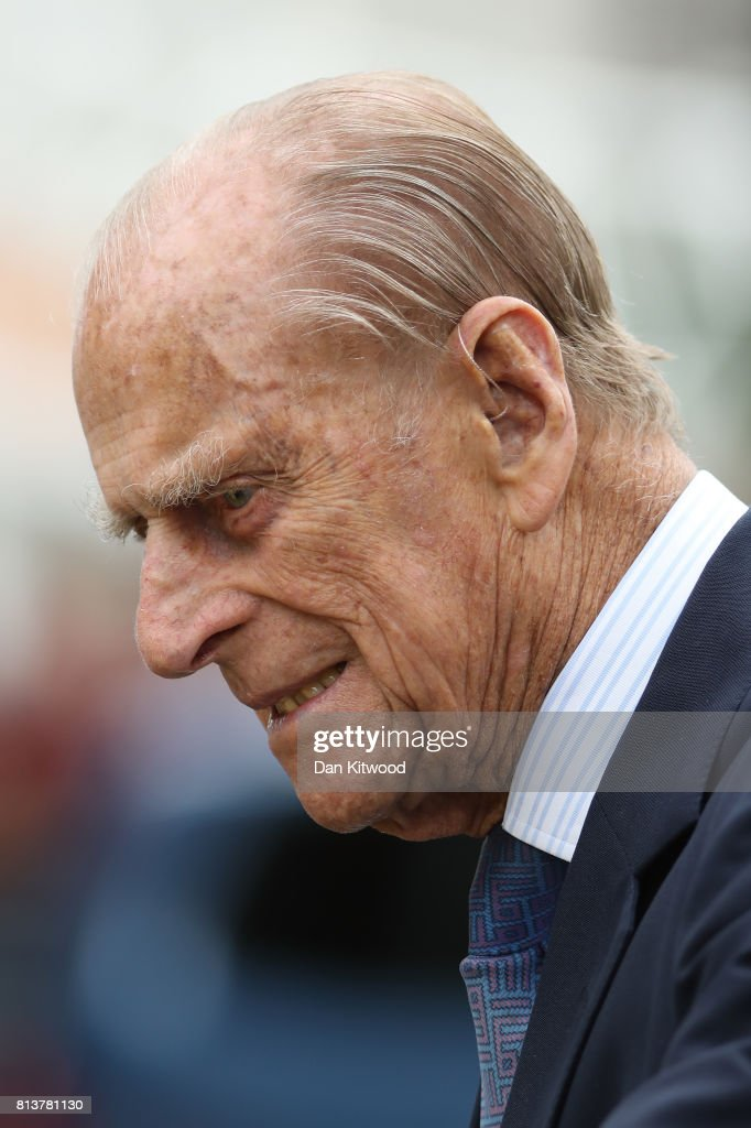 Prince Philip, Duke of Edinburgh leaves New Scotland Yard after a vist on July 13, 2017 in London, England. The visit marked the opening of the new headquarters of the Metropolitan Police.