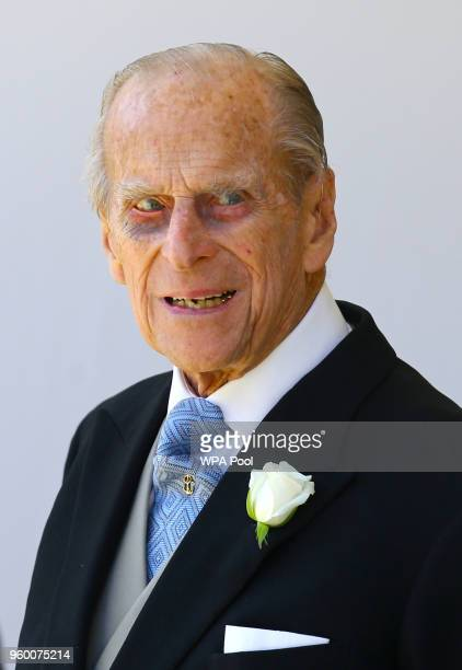 Prince Philip, Duke of Edinburgh leaves St George's Chapel at Windsor Castle after the wedding of Prince Harry to Meghan Markle on May 19, 2018 in...