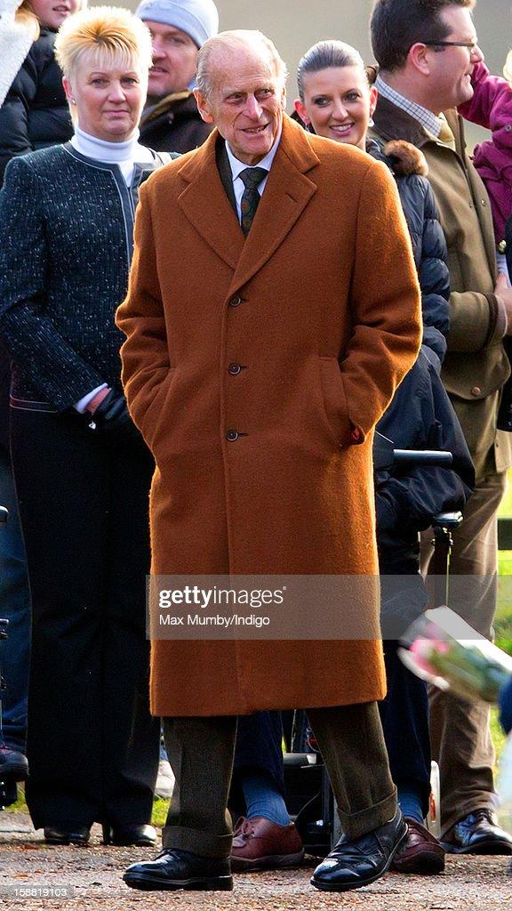 Prince Philip, Duke of Edinburgh leaves St. Mary Magdalene Church, Sandringham after attending Sunday service on December 30, 2012 near King's Lynn, England.