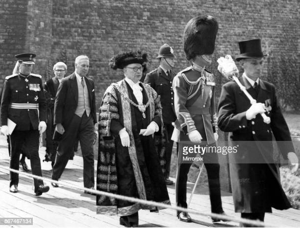 HRH Prince Philip Duke of Edinburgh leaves the Castle after Freedom Ceremony accompanied by the Lord Mayor of Cardiff the Lord Lieutenant of...