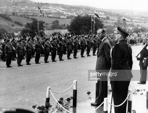 Prince Philip Duke of Edinburgh leaves the Dais to inspect the 5th Battalion the Welsh Regiment at Cyfarthfa July 1958