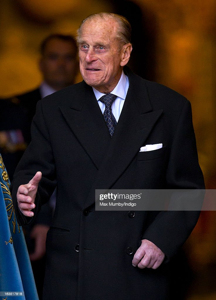 Prince Philip, Duke of Edinburgh leaves Westminster Abbey after attending The Commonwealth Day Observance on March 11, 2013 in London, England. Queen Elizabeth II, who is the head of the Commonwealth, was due to attend the event, but cancelled as she continues her recovery after a brief illness. Commonwealth Day Observance takes place annually on the second Monday in March, and this year's theme is 'Opportunity Through Enterprise'.