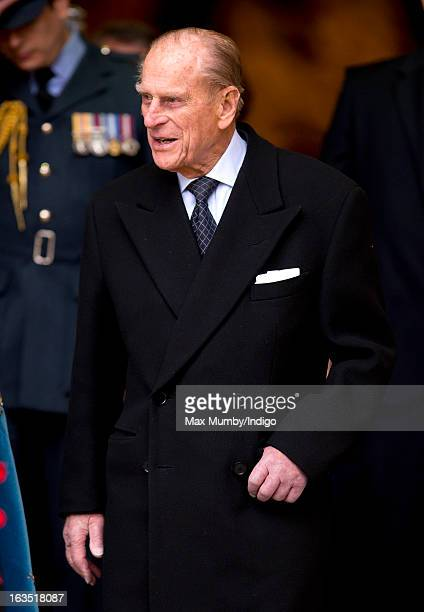 Prince Philip Duke of Edinburgh leaves Westminster Abbey after attending The Commonwealth Day Observance on March 11 2013 in London England Queen...