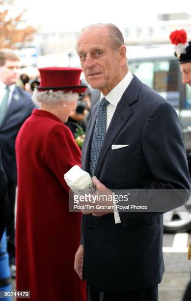 Prince Philip Duke of Edinburgh leaves with a commemorative bag of sugar following a visit to the east London sugar refinery Tate Lyle which is...