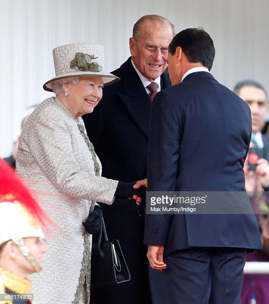 Prince Philip, Duke of Edinburgh looks on as Queen Elizabeth II meets Mexican President Enrique Pena Nieto during the President's Ceremonial Welcome...