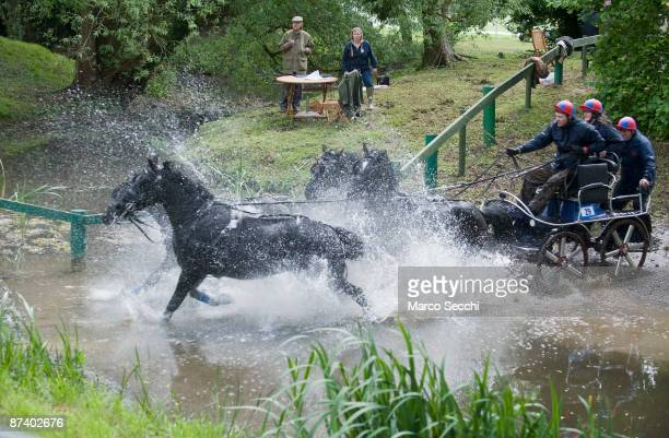 Prince Philip Duke of Edinburgh marshals the Water Obstacle on the fourth day of the Royal Windsor Horse Show on May 16 2009 in Windsor England