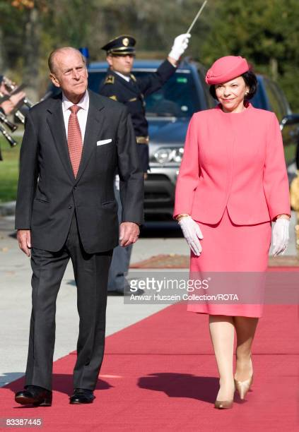 Prince Philip Duke of Edinburgh meets Barbara Miklic Turk at Brdo Castle on the first day of a State Visit to Slovenia on October 21 2008 in...