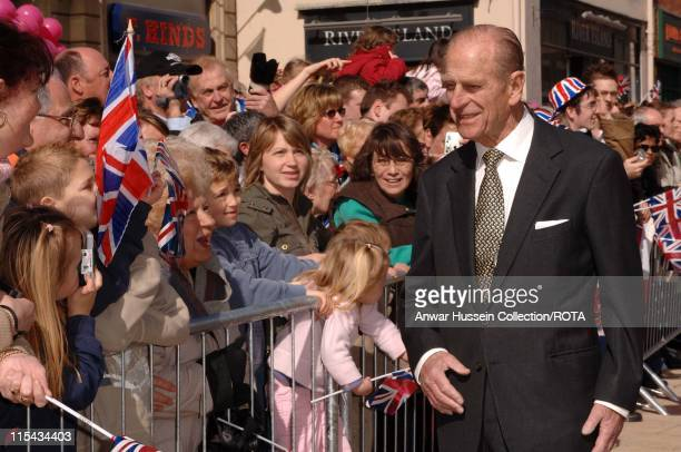Prince Philip Duke of Edinburgh meets the public during a walkabout in Stafford on March 31 2006