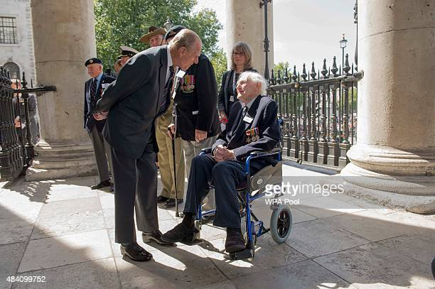 Prince Philip Duke of Edinburgh meets veteran John Dean who served on the same ship as the duke during the 70th Anniversary commemorations of VJ Day...