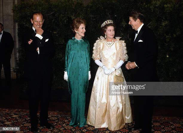Prince Philip, Duke of Edinburgh, Nancy Reagan, Queen Elizabeth ll and President Ronald Reagan attend a banquet on March 3, 1983 in San Francisco,...