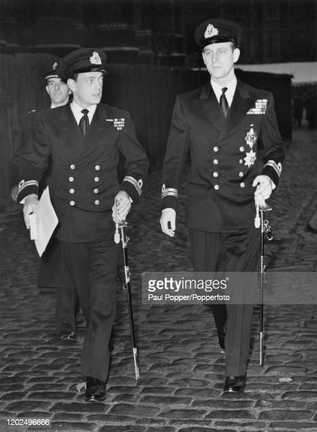 Prince Philip, Duke of Edinburgh, on right, arrives at Westminster Abbey with his best man David Mountbatten, 3rd Marquess of Milford Haven for his...