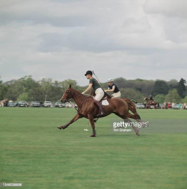 Prince Philip, Duke of Edinburgh playing polo on Smith's Lawn in Windsor Great Park, Windsor, UK, 28th April 1968.