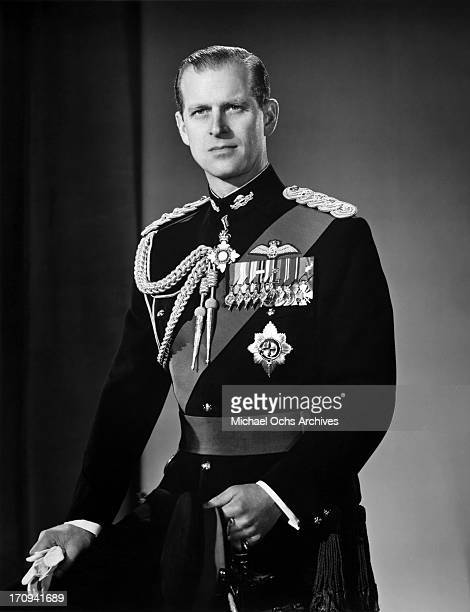 Prince Philip Duke of Edinburgh poses for a portrait at home in Buckingham Palace in December 1958 in London England