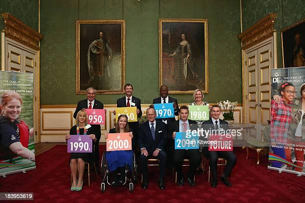 Prince Philip Duke of Edinburgh poses with former DOE awardees ahead of a reception to celebrate the 500th anniversary of his 'Duke of Edinburgh...