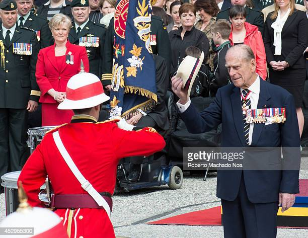Prince Philip, Duke of Edinburgh presents new Colours to The Royal Canadian Regiment. The ceremony takes place as Toronto celebrates the 200...