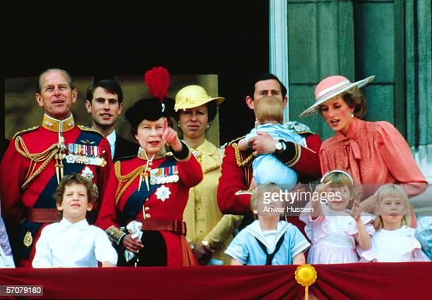 Prince Philip, Duke of Edinburgh, Prince Edward, Queen Elizabeth II, Anne, Princess Royal, Prince Charles, Prince of Wales holding Prince Harry,...