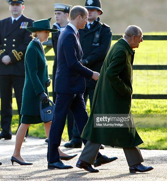 Prince Philip Duke of Edinburgh Prince William Duke of Cambridge and Lady Penny Brabourne attend the Sunday service at St Mary Magdalene Church...