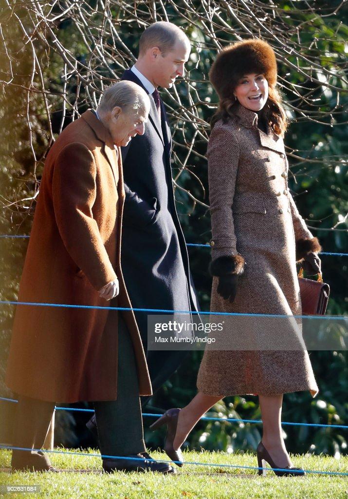 Prince Philip, Duke of Edinburgh, Prince William, Duke of Cambridge and Catherine, Duchess of Cambridge attend Sunday service at St Mary Magdalene Church, Sandringham on January 7, 2018 in King's Lynn, England.