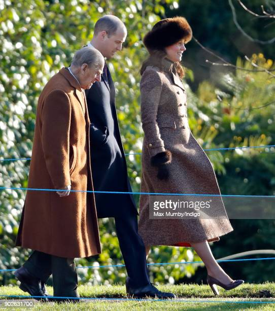 Prince Philip Duke of Edinburgh Prince William Duke of Cambridge and Catherine Duchess of Cambridge attend Sunday service at St Mary Magdalene Church...