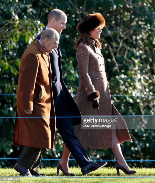 Prince Philip, Duke of Edinburgh, Prince William, Duke of Cambridge and Catherine, Duchess of Cambridge attend Sunday service at St Mary Magdalene...