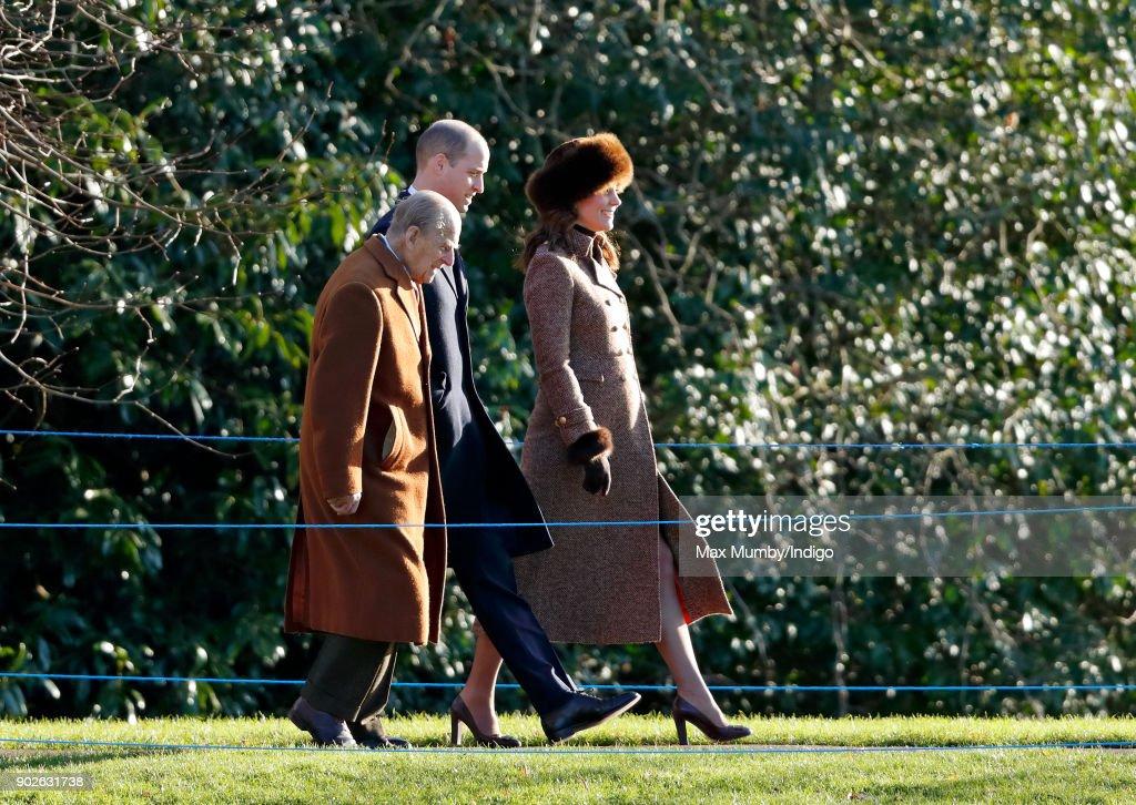 Members Of The Royal Family Attend St Mary Magdalene Church In Sandringham : Nachrichtenfoto