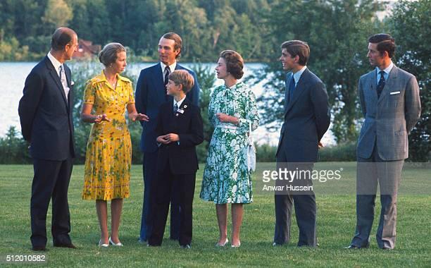 Prince Philip Duke of Edinburgh Princess Anne Mark Phillips Prince Edward Queen Elizabeth ll Prince Andrew and Prince Charles Prince of Wales pose...