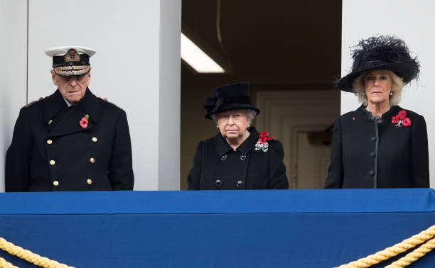 Prince Philip Duke of Edinburgh Queen Elizabeth II and Camilla Duchess of Cornwall during the annual Remembrance Sunday Service at The Cenotaph on...