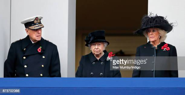 Prince Philip Duke of Edinburgh Queen Elizabeth II and Camilla Duchess of Cornwall attend the annual Remembrance Sunday Service at The Cenotaph on...