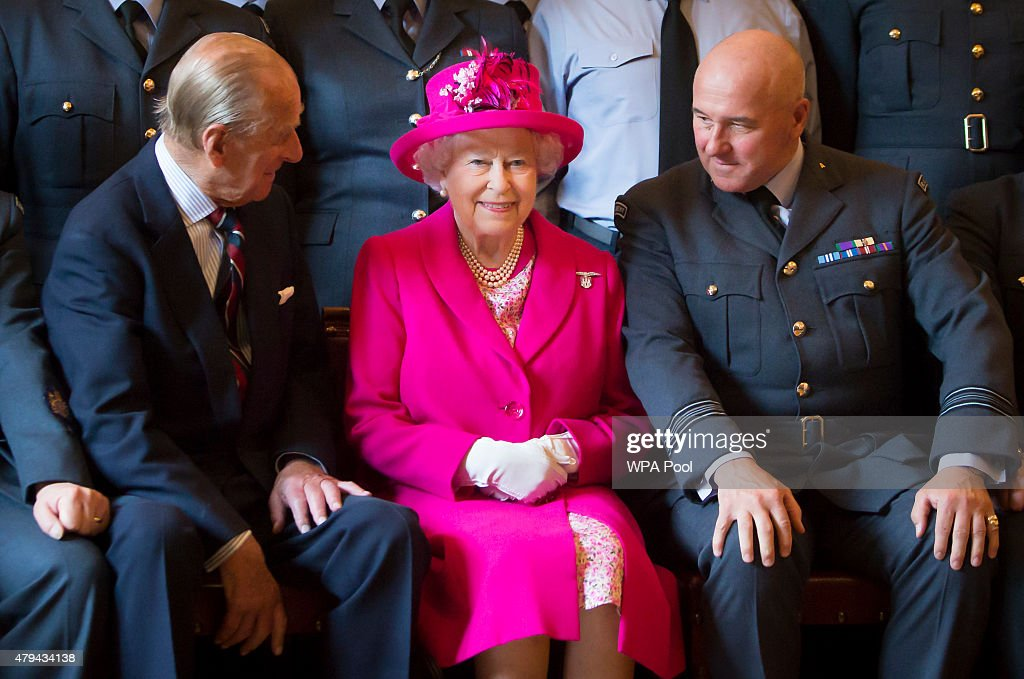 Queen Elizabeth II Visits The Royal Auxiliary Air Force In Scotland : News Photo