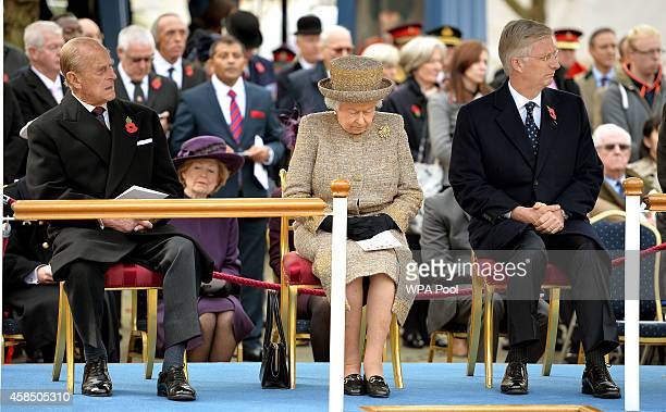 Prince Philip Duke of Edinburgh Queen Elizabeth II and King Philippe of Belgium attend the opening of the Flanders' Fields Memorial Garden on...