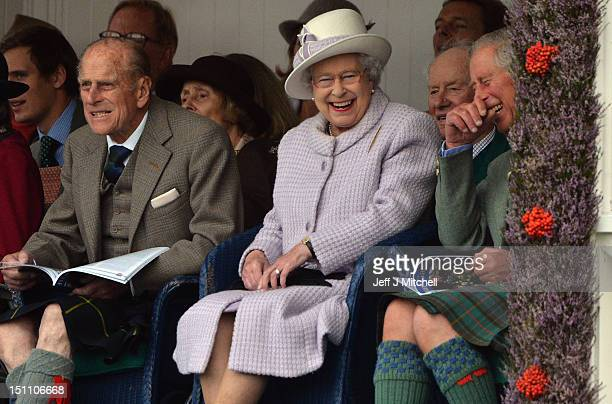 Prince Philip Duke of Edinburgh Queen Elizabeth II and Prince Charles attend the Braemar Highland Games at The Princess Royal and Duke of Fife...