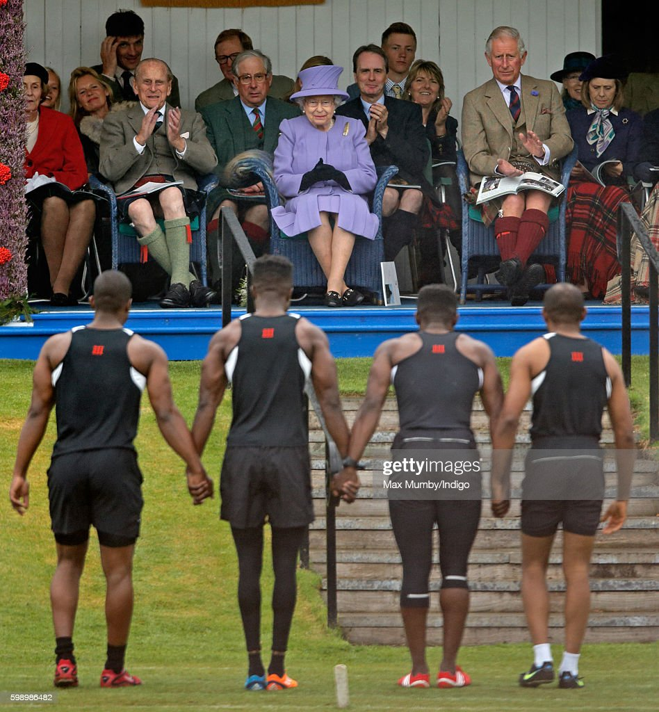 Prince Philip, Duke of Edinburgh, Queen Elizabeth II and Prince Charles, Prince of Wales attend the 2016 Braemar Highland Gathering at The Princess Royal and Duke of Fife Memorial Park on September 3, 2016 in Braemar, Scotland. There has been an annual gathering at Braemar, in the heart of the Cairngorms National Park, for over 900 years. The current gathering, in the form of a Highland Games and run by the Braemar Royal Highland Society (BRHS), takes place on the first Saturday in September and sees competitors in Running, Heavy Weights, Solo Piping, Light Field and Solo Dance watched by around 16000 spectators.