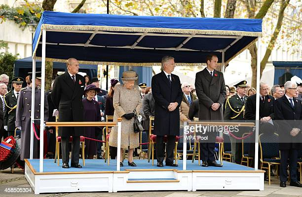 Prince Philip Duke of Edinburgh Queen Elizabeth II King Philippe of Belgium and Prince William Duke of Cambridge attend the opening of the Flanders'...