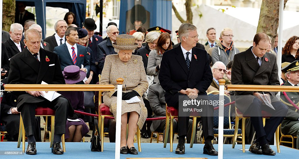 Prince Philip, Duke of Edinburgh, Queen Elizabeth II, King Philippe of Belgium and Prince William, Duke of Cambridge attend the opening of the Flanders' Fields Memorial Garden on November 6, 2014 in London, England.