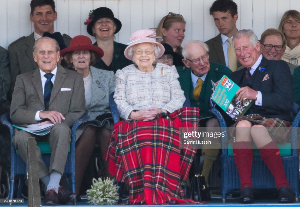 Prince Philip, Duke of Edinburgh, Queen Elizabeth II, Prince Charles, Prince of Wales attend the 2017 Braemar Highland Gathering at The Princess Royal and Duke of Fife Memorial Park on September 2, 2017 in Braemar, Scotland.