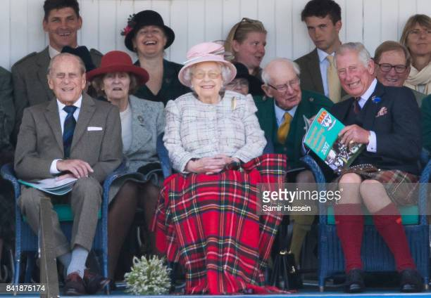 Prince Philip Duke of Edinburgh Queen Elizabeth II Prince Charles Prince of Wales attend the 2017 Braemar Highland Gathering at The Princess Royal...